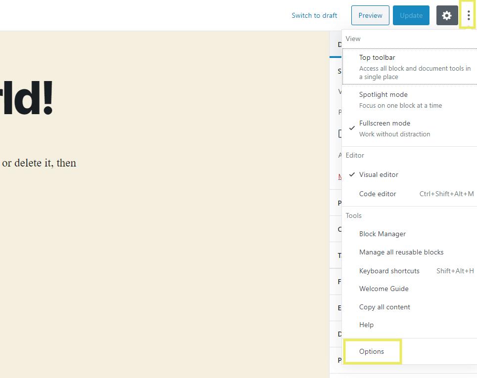 The Block Editor Options menu.
