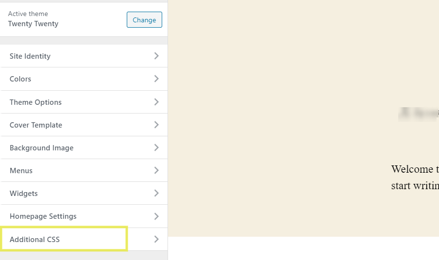 The Additional CSS tab in the WordPress Customizer.
