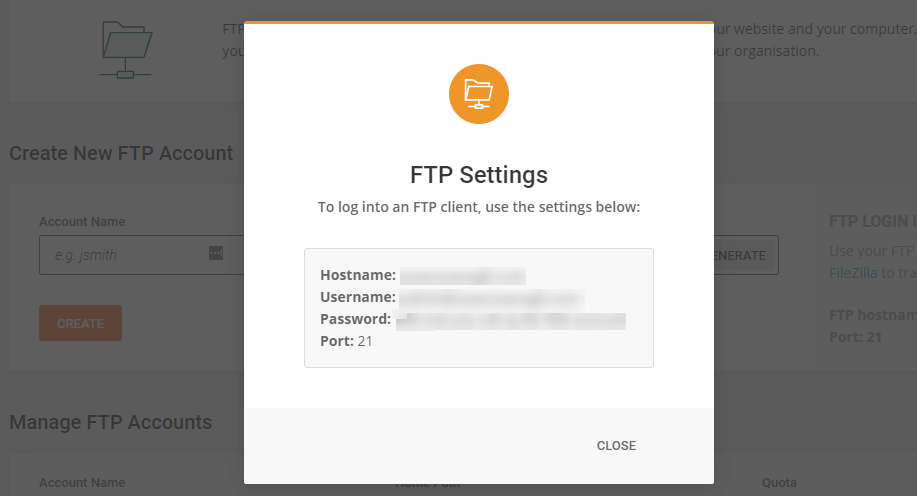 FTP credentials.