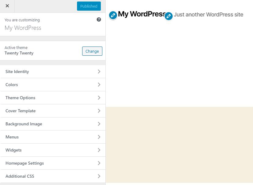 The WordPress Customizer for the Twenty Twenty theme.