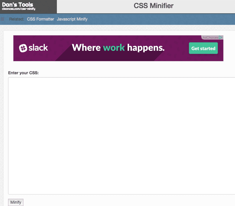 Screenshot of Dans Tools CSS Minifier