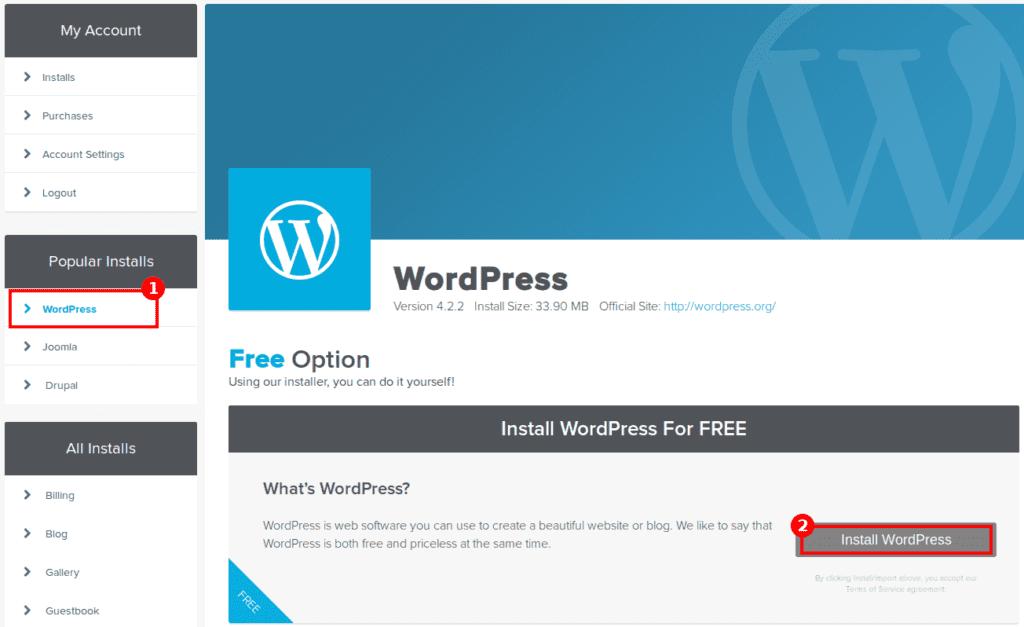 hostgator wordpress install