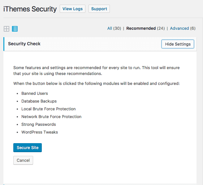 The Security Check screen in iThemes Security