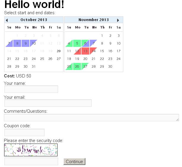 Booking Calendar Contact Form
