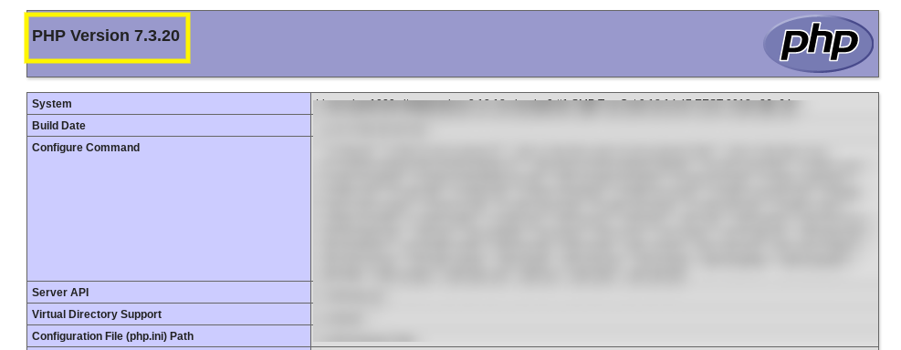 The PHP version file viewed in a web browser.