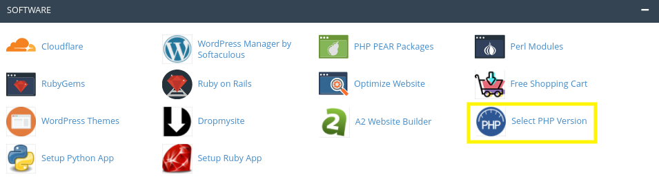 The 'Select PHP Version' option in cPanel.