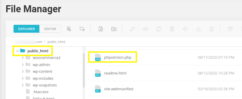 A phpversion.php file uploaded to WordPress directory via File Manager.