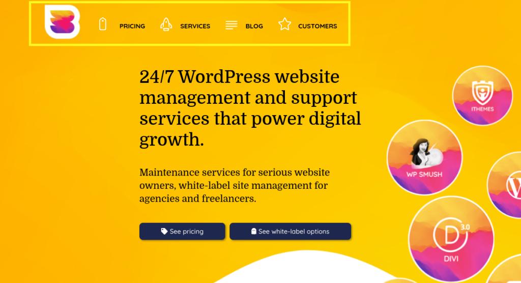 The WP Buffs desktop website menu.