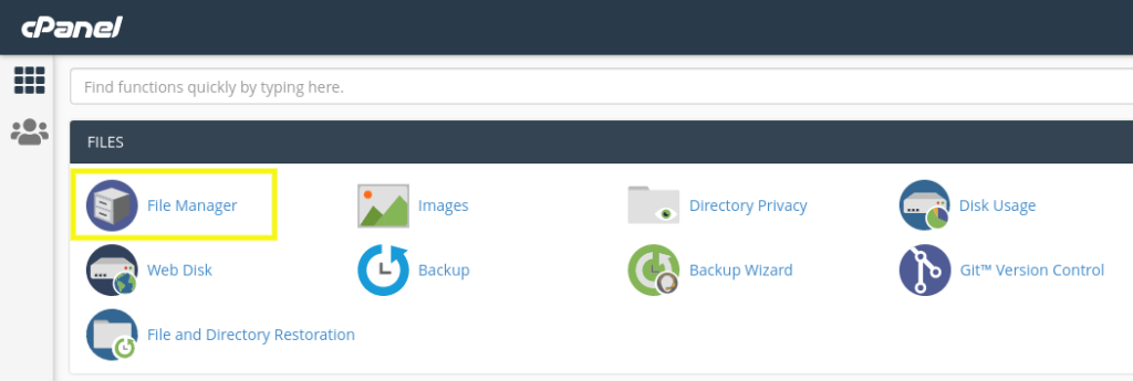 The cPanel File Manager.