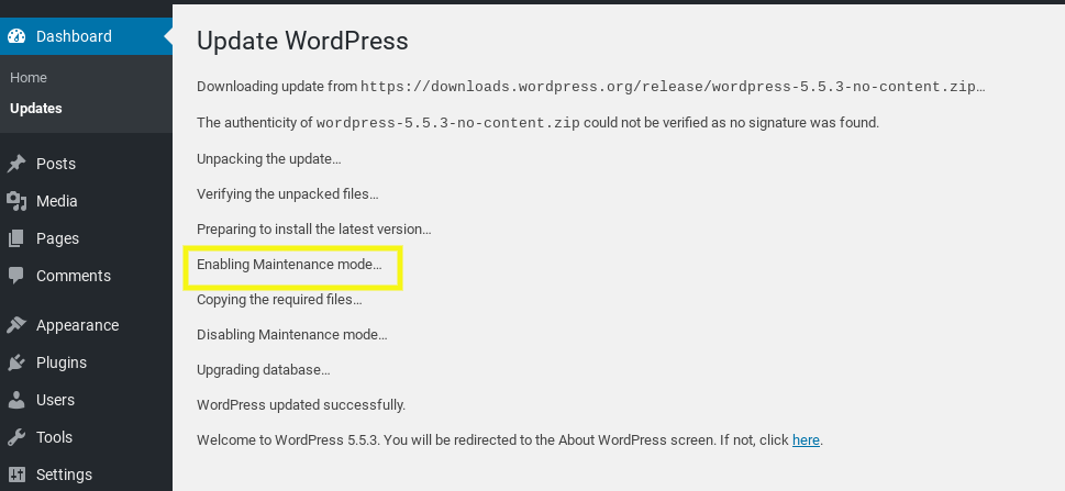 Enabling maintenance mode in WordPress.