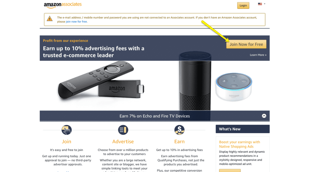 Amazon Affiliates signup process