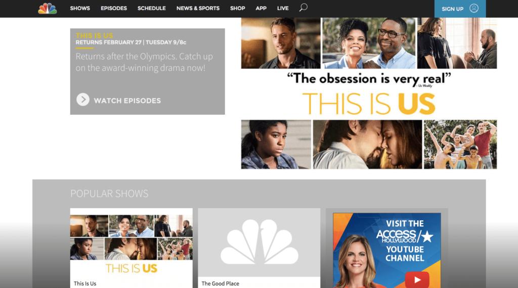The NBC website.