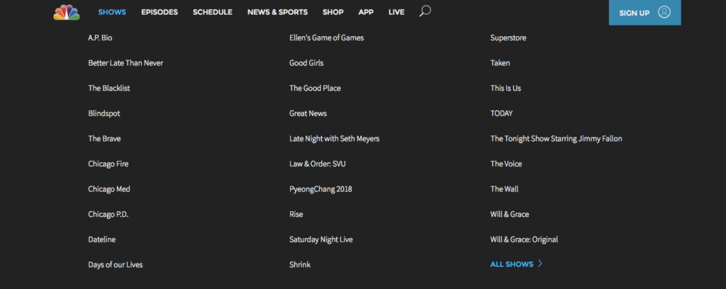 The NBC website footer.