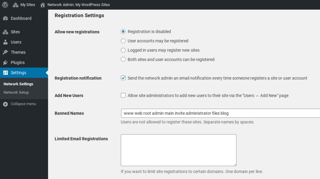 Configuring WordPress Multisite network registration settings.