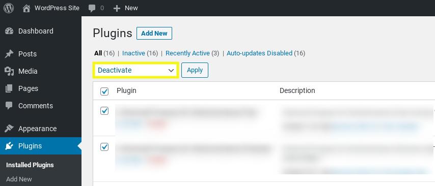 Deactivating WordPress plugins.