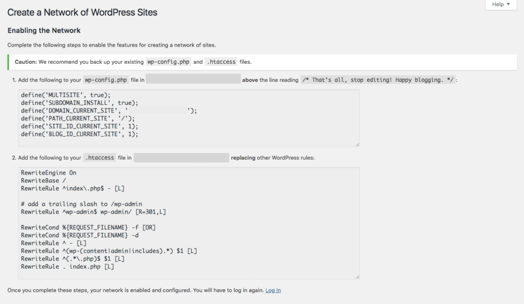 Enabling a WordPress Multisite network.