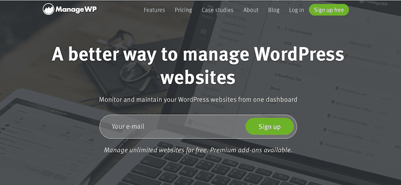 The ManageWP website.