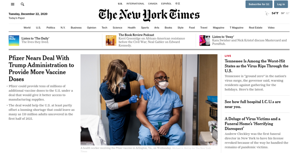 The New York Times website.