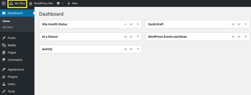 The WordPress Multisite 'My Sites' menu item.