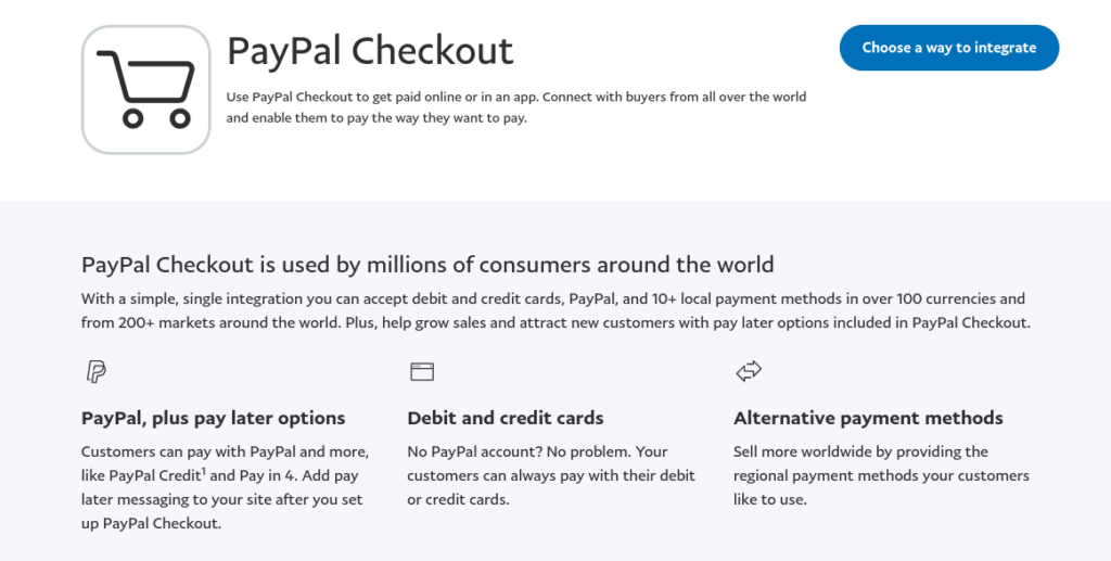 The PayPal Checkout website.