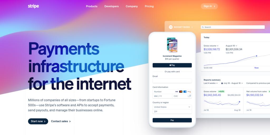 The Stripe website.