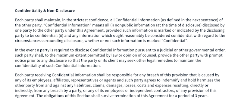 Contract - Confidentiality
