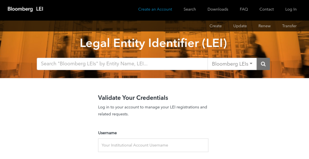 The Bloomberg LEI online client portal.