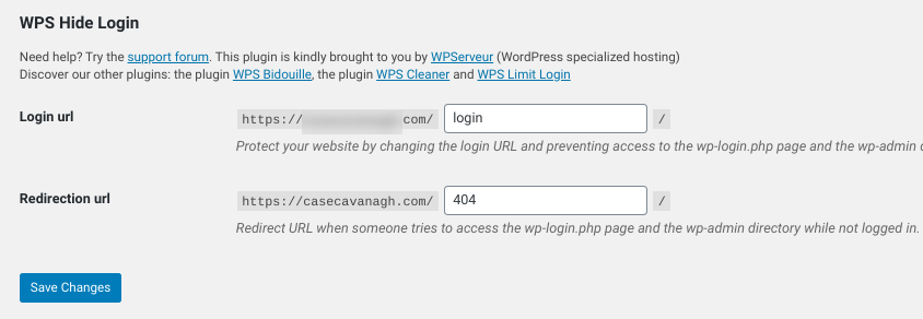 The place to change the login URL in the WPS Hide Login WordPress plugin.