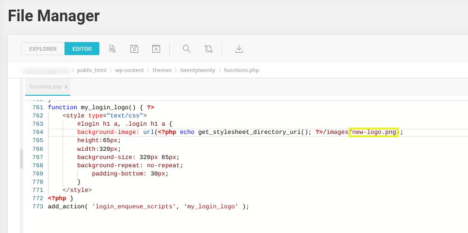 The custom code to add a new logo image in WordPress.