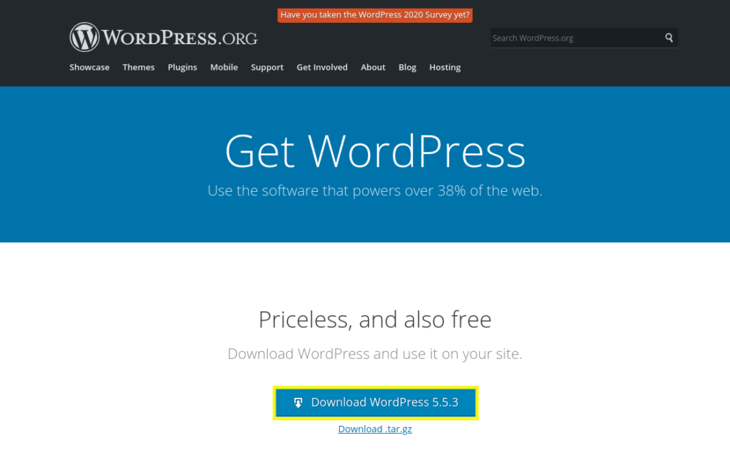 The WordPress download page.