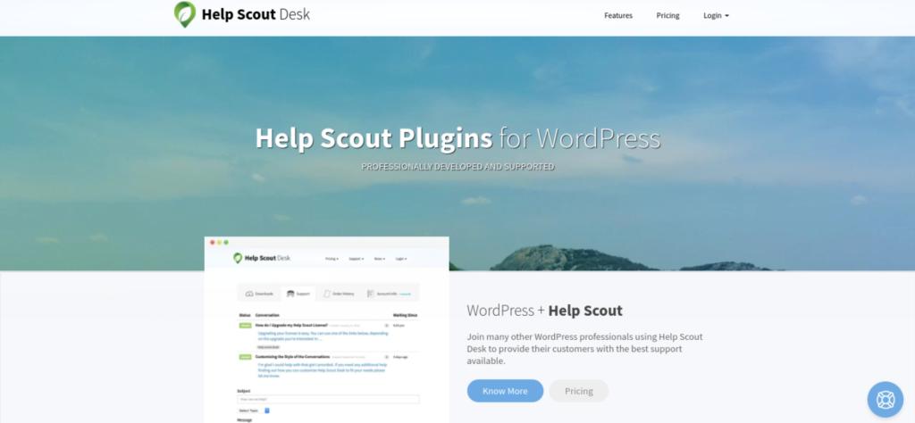 The Help Scout Desk WordPress plugin website.