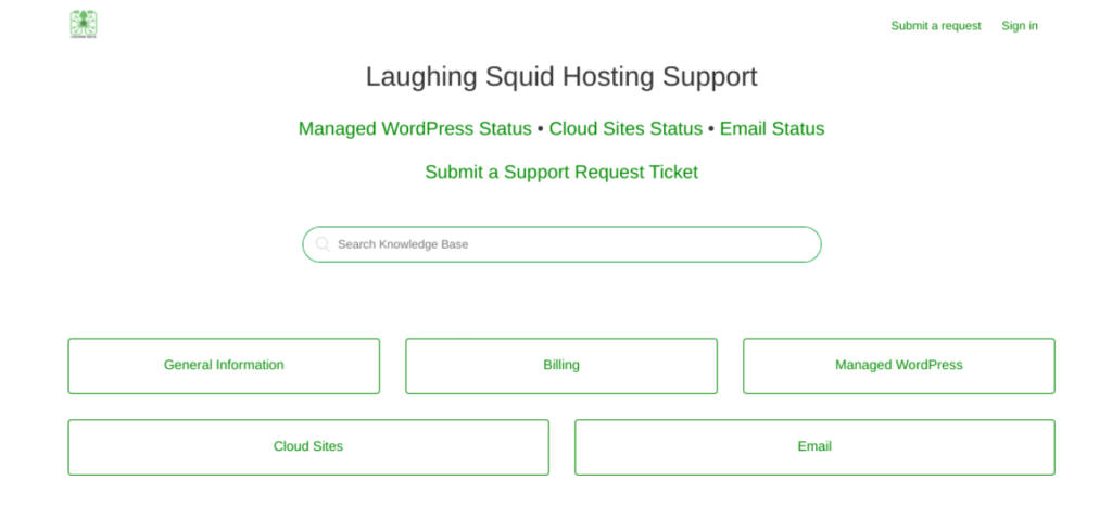 The Laughing Squid support portal.