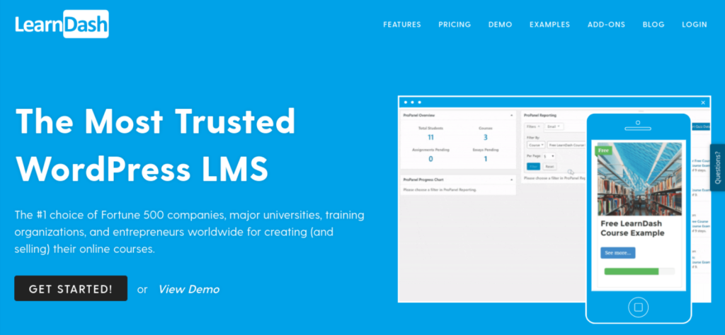 The LearnDash WordPress client portal plugin website.