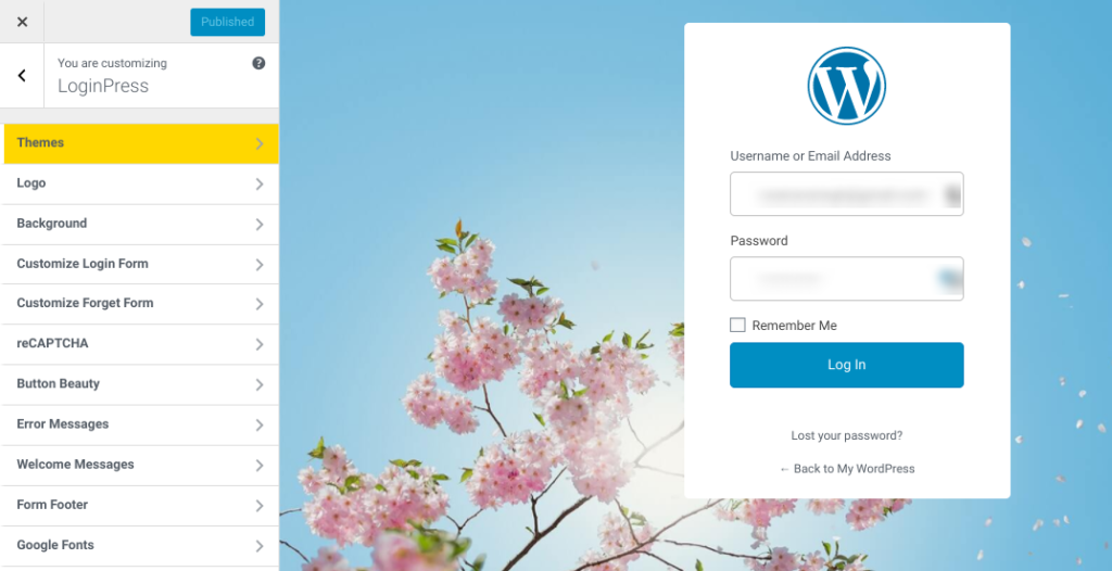 The WordPress login page customizer interface.