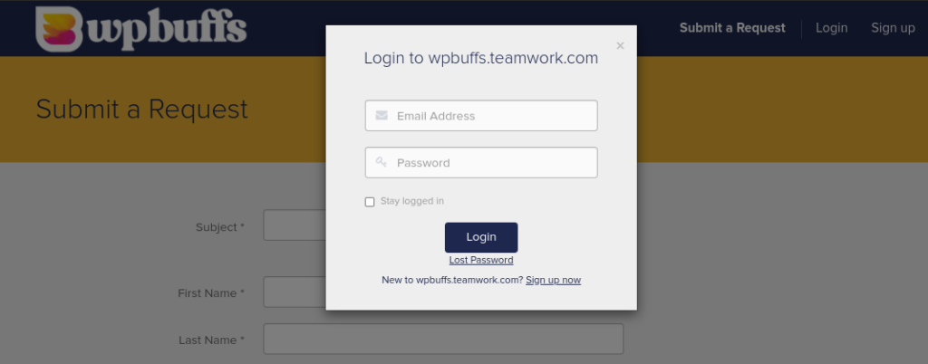 The WP Buffs client portal.