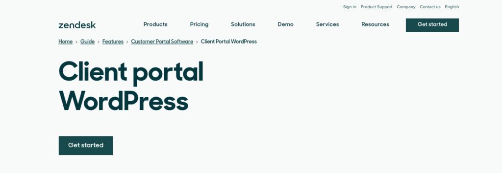 The Zendesk Client Portal website.