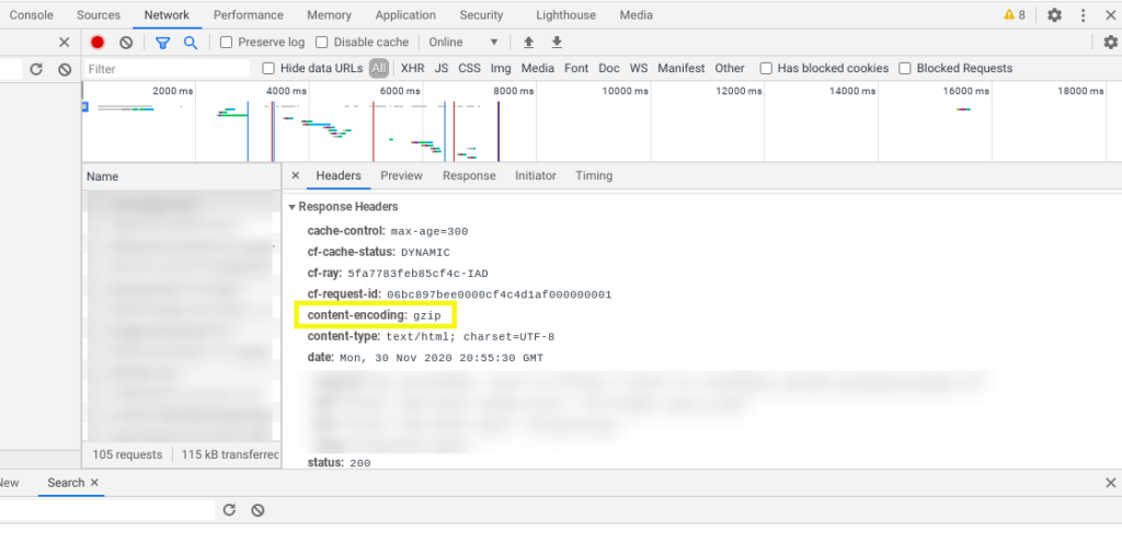 The content-encoding GZIP compression response header in Dev Tools.
