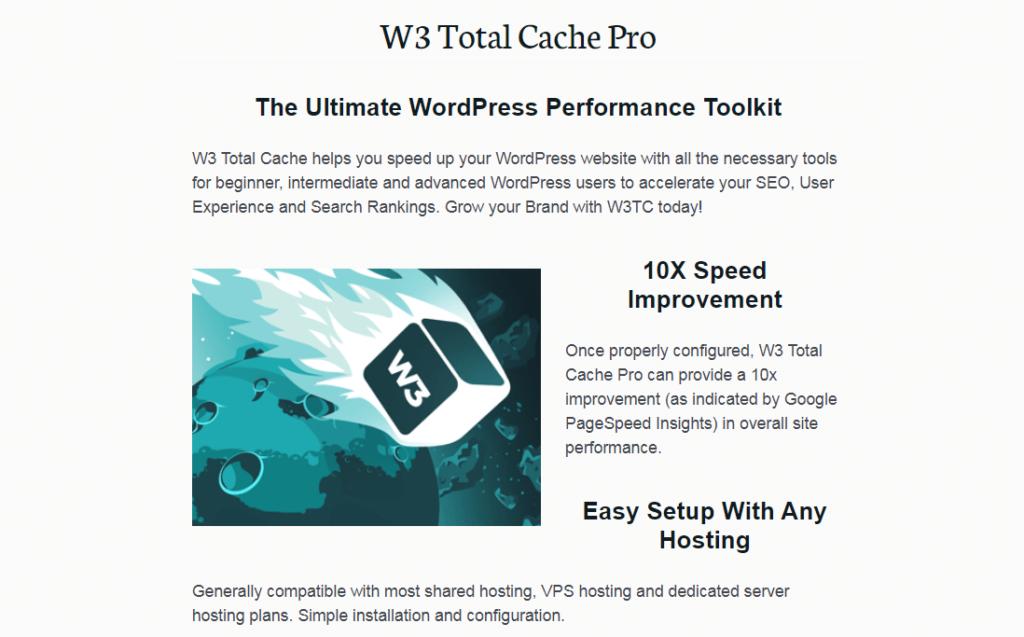 The W3 Total Cache WordPress plugin website.