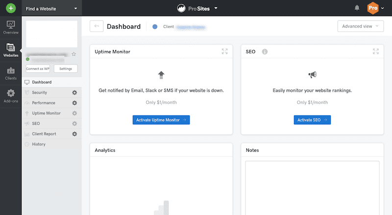Website Dashboard