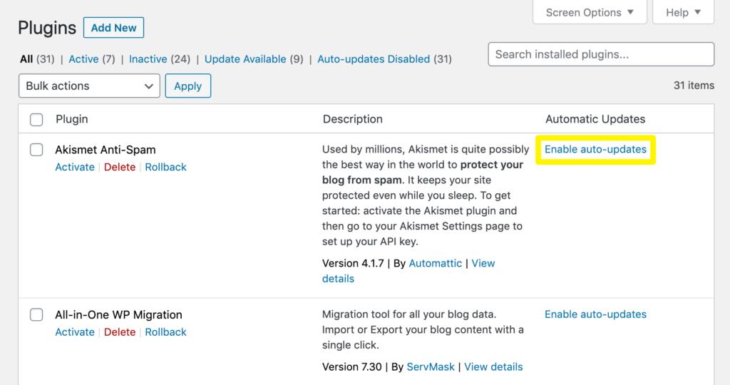 Enable auto-updates in WordPress.