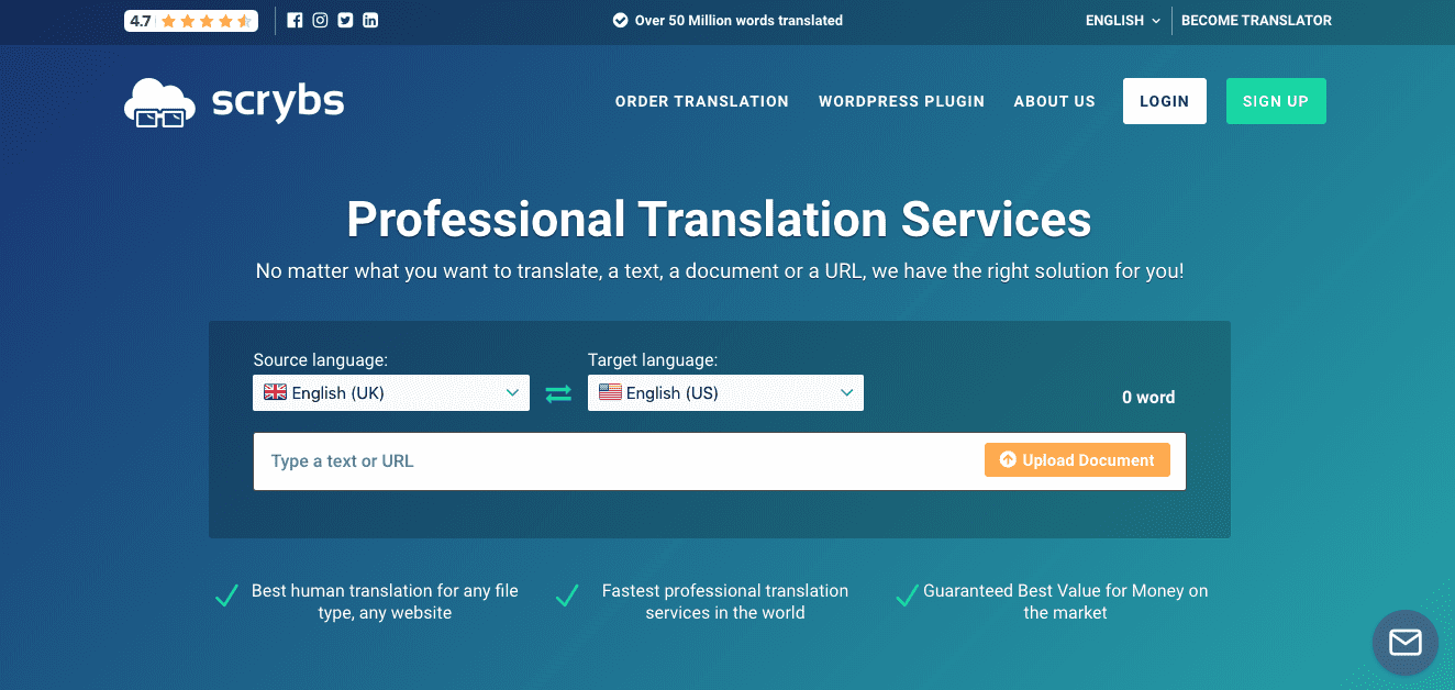 Scrybs professional translation