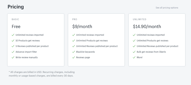 Shopify App Pricing