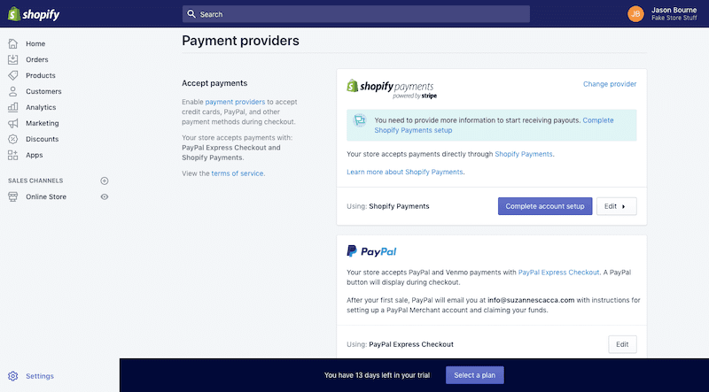 The Shopify payment providers.