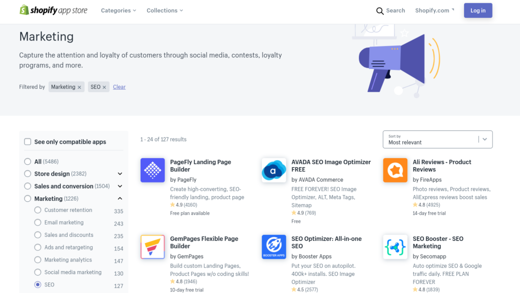 Shopify's SEO apps.