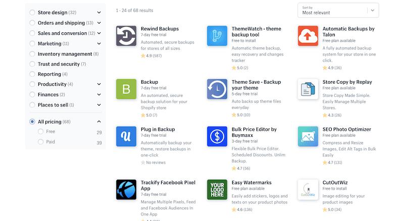 Shopify backup apps.