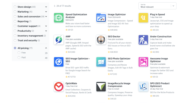 Shopify speed apps.