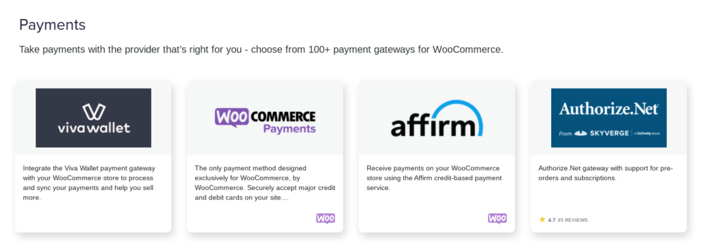 WooCommerce payment extensions.