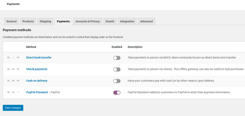 The WooCommerce payment settings.