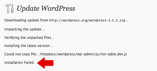 WordPress Failing Auto-Upgrade