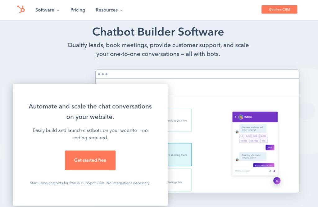 The HubSpot chatbot builder software.